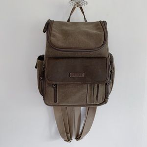 Brown Canvas Mini Backpack